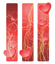 Banners Contains Hearts And Wavy Lines. Stock Images