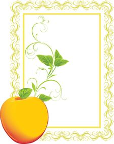 Free Yellow Apple With Sprig In The Decorative Frame Royalty Free Stock Photo - 17791705