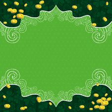 Green Background With Shamrock And   Golden Coins Royalty Free Stock Images
