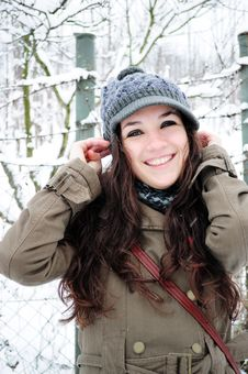 Free Happy Young Girl In The Winter Park Stock Photo - 17792490