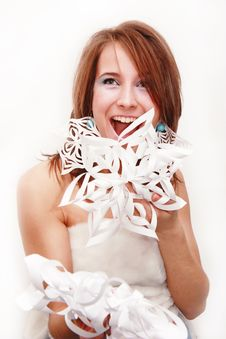 Free Young Girl With Cut Snowflakes Stock Photography - 17792632
