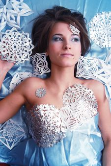 Free Young Girl With Cut Snowflakes Stock Image - 17792701