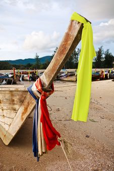 Free Bow Of Longtail Boat On Beach In Thailand Royalty Free Stock Photos - 17792898