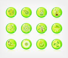 Free Green Ecology Button Stock Images - 17793064