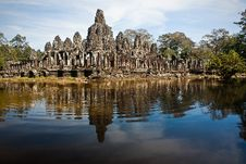 Free Ruined Temple Reflecting From Rippling Pond Royalty Free Stock Photography - 17793067