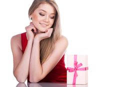 Free Woman With A Present Royalty Free Stock Photography - 17794087