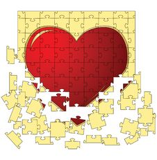 Free The Red Heart Collected From Puzzles Royalty Free Stock Photo - 17794305