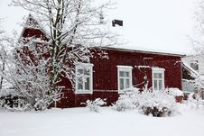 Free Winter Rural House Under Snowfall Stock Photos - 17794853