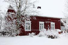 Free Winter Rural House Under Snowfall Stock Photos - 17794853