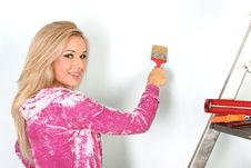 Woman Starting Renovations Stock Photography