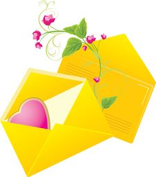 Free Yellow Envelopes With Pink Heart. Valentines Day Royalty Free Stock Images - 17795269