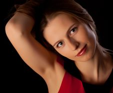Free Beautiful Young Woman Playing With Her Hair Stock Image - 17795311