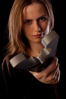 Free Serious Young Woman Threatens You By Huge Pin Royalty Free Stock Photography - 17795387