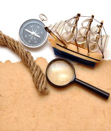 Free Rope, Loupe, Compass And Model Classic Boat Stock Photo - 17795570