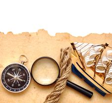 Free Rope, Loupe, Compass And Model Classic Boat Royalty Free Stock Image - 17795596