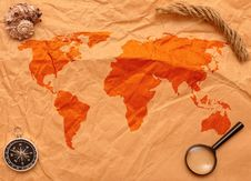 Free Loupe, Compass And Rope On Old Map Royalty Free Stock Photos - 17795708