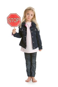 Sad Little Girl Holding A Stop Sign Stock Photography