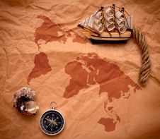 Free Compass, Shell And Model Classic Boat On Old Paper Stock Photo - 17795770