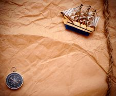 Free Compass And Rope On Old Paper Stock Photo - 17795810