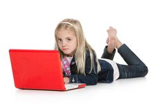 Free Cute Little Girl Lying Down With Laptop Isolated O Royalty Free Stock Image - 17795916