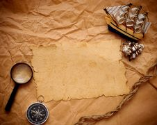 Free Loupe, Rope And Model Classic Boat Stock Images - 17795954