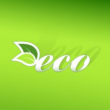 Eco Sign On Green Gradient Background. Stock Photography