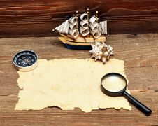 Model Classic Boat, Compass And Rope Stock Image