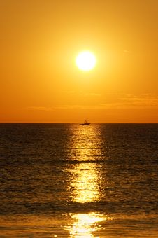 Free Boat On A Golden Sea Stock Photos - 17796243