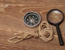 Free Rope, Compass And Magnifying Glass Stock Images - 17796344