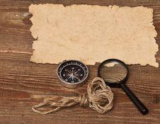 Free Old Paper, Compass And Magnifying Glass Stock Images - 17796364