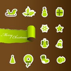 Free Colorful Christmas Icons. Stock Image - 17796371