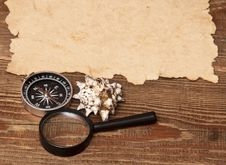 Free Old Paper, Compass And Magnifying Glass Royalty Free Stock Photos - 17796388