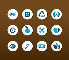 Set Of Black And Blue Icons. Vector Stock Photos
