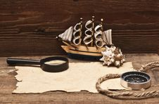 Free Old Paper And Model Classic Boat Royalty Free Stock Photos - 17796528