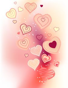 Free Contour Hearts On Pink Background Stock Photos - 17797453