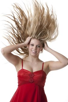 Beautiful Blonde Teenage Girl With Flying Hair Royalty Free Stock Photography