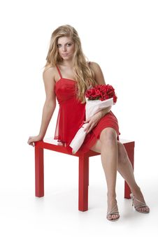 Free Attractive Teenage Girl Wearing A Red Dress Royalty Free Stock Photography - 17798327