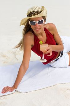 Free Lady On A Tropical Beach With Cocktail Stock Photography - 17798622