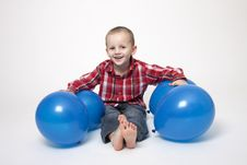 Free Portrait Of Cute Boy With Blue Balloons Royalty Free Stock Image - 17799056