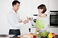 Free Happy Couple Toasting With Glass Of Wine Stock Photo - 17799100