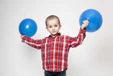 Free Portrait Of Cute Boy With Blue Balloons Royalty Free Stock Images - 17799139