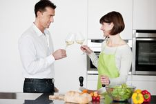 Free Happy Couple Toasting With Glass Of Wine Royalty Free Stock Photos - 17799228