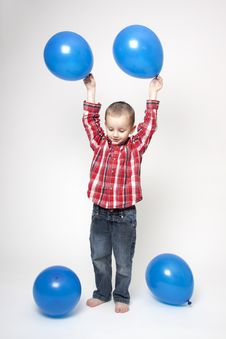 Free Portrait Of Cute Boy With Blue Balloons Royalty Free Stock Image - 17799266