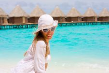Free A Girl On A Beach Royalty Free Stock Image - 17799466