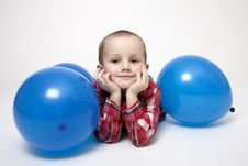 Free Portrait Of Cute Boy With Blue Balloons Royalty Free Stock Image - 17799556