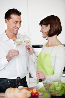 Free Happy Couple Toasting With Glass Of Wine Royalty Free Stock Photos - 17799568