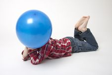 Free Portrait Of Cute Boy With Blue Balloons Royalty Free Stock Photography - 17799737