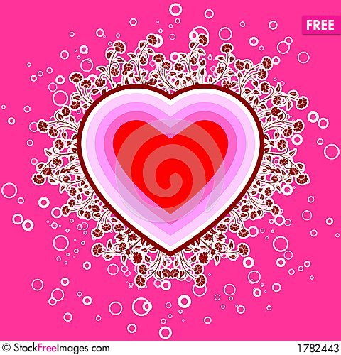Abstract St Valentine Card With Flowers And Circles Vector Ill – Saint Valentine Card