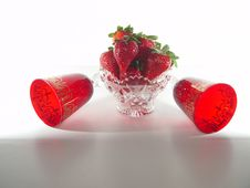 Strawberries In Crystal Bowl Stock Images