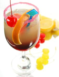 Drink Decorated Different Fruits Royalty Free Stock Photography